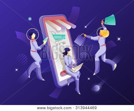 Mobile Shopping And Astronauts In Spacesuits Vector Illustration. Cosmic Design Vector Illustration