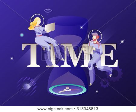 Time Word And Astronauts In Spacesuits Vector Illustration. Cosmic Design Vector Illustration Concep