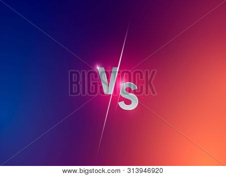 Blue Neon Versus Logo Vs Letters For Sports And Fight Competition. Battle Vs Match, Game Concept Com