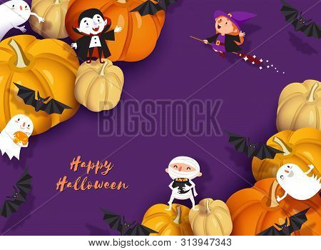 Happy Halloween Design. 3d Paper Cut Witch, Ghoul, Vampire, Bat, Pumpkin, Mummy, Ghost, Moon. Purple