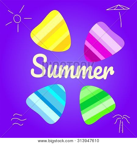 Summer Vector Background With Seashell Elements. Summer Colorfull Seashells On The Violet Backdrop.