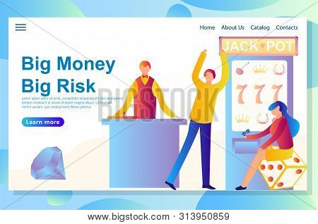 Web Landing Page Design Template For Casino Theme. Shows All Key Features Starting From Big Victory