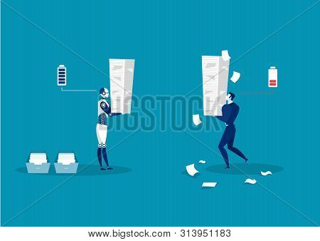 Robot Vs Man. Human Humanoid Robot Work With  Many Paper Menagment.vector Illustrator
