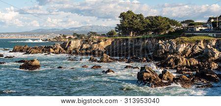 Rocky Coastline On Pacific Grove, California. Pacific Grove Is A Coastal City In Monterey County, Ca