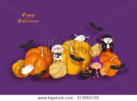 Happy Halloween Design. 3d Paper Cut Witch, Ghoul, Vampire, Bat, Pumpkin, Mummy, Ghost. Purple And O