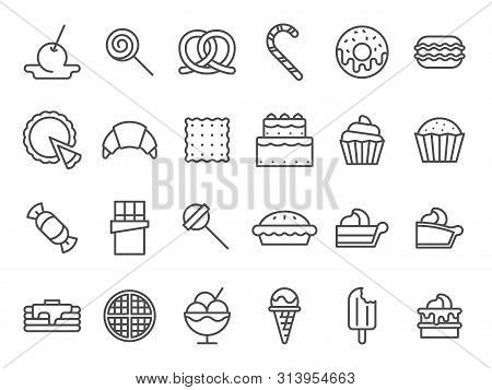 Sweet Dessert Icons. Sweetly Cake, Sweets Ice Cream And Muffin Cakes. Desserts Line Art Pancakes, Ce