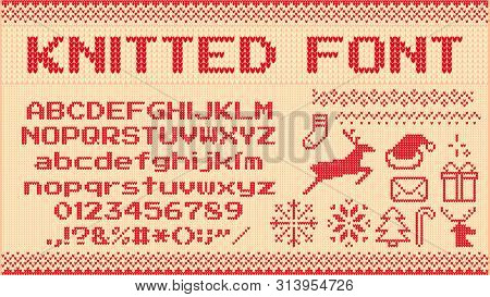 Winter Sweater Font. Knitted Christmas Sweaters Letters, Knit Jumper Xmas Pattern And Ugly Sweater K