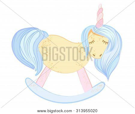 Cute Little Pink Magical Unicorn. Vector Design On White Background. Print For T-shirt. Romantic Han