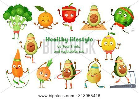 Sport Fruits And Vegetables. Healthy Lifestyle Mascots, Fruit Sports Exercise And Avocado Yoga Worko