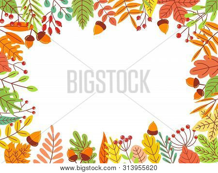 Autumn Leaves Frame. Fallen Yellow Leaf, September Foliage And Autumnal Garden Leaves Border. Fall L