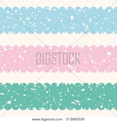 Scattered White Terrazzo Shapes With Pastel Pink, Blue, Teal Stripes. Seamless Vector Pattern On Cre
