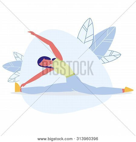 Girl Do Twine, Reaching Toes Vector Illustration. Young Slim Sportswoman Cartoon Character. Smiling