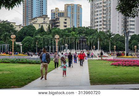 Nanning, China - Nov 1, 2015. City Square Of Nanning, China. Nanning Is A Large, Modern City And A T