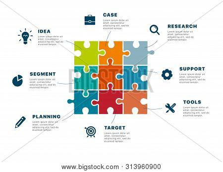 Infographics. Puzzle Infographics Creating A Successful Business. Template Business Infographics For