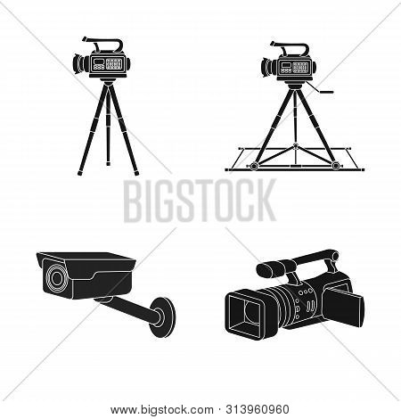 Isolated Object Of Camcorder And Camera Sign. Collection Of Camcorder And Dashboard Stock Symbol For