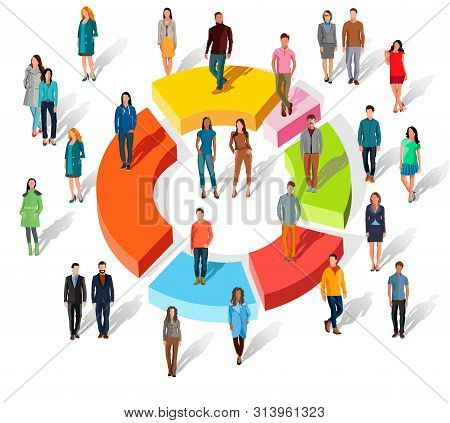 People Related To Share Market. Isometric Flat 3d Business Concept Of Market Share. Business Infogra