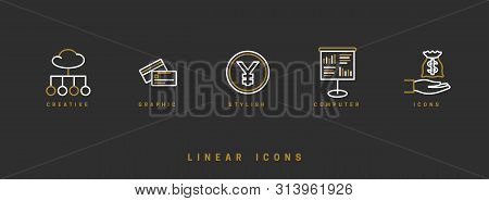 Business Finance Icons. Line Icon - Vector Illustration