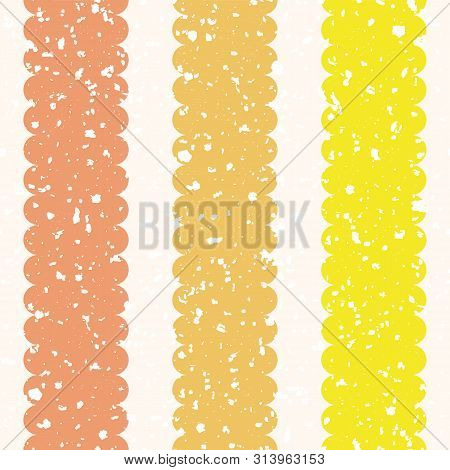 Scattered White Brush Texture On Scalloped Orange And Yellow Vertical Stripes. Seamless Geometric Ve