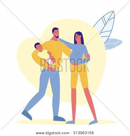 Family Idyll, Happiness Flat Vector Illustration. Young Family, Father, Pregnant Mother And Child Ca