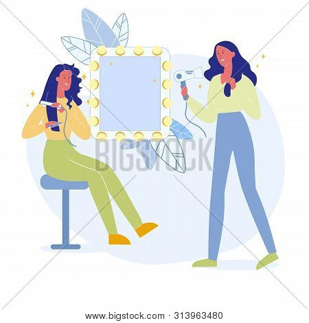 Girls Make Hairstyles Flat Vector Illustration. Young Women In Dressing Room Cartoon Characters. Fem
