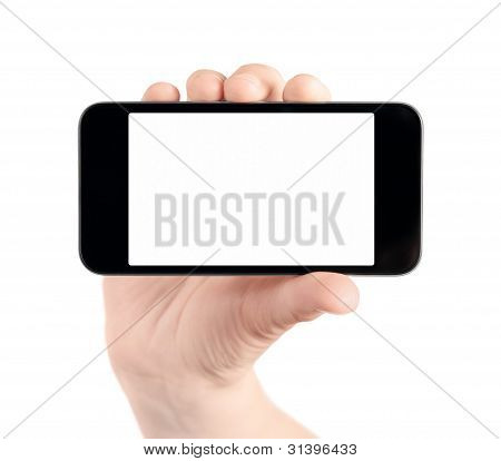 Mão segure em branco celular isolado