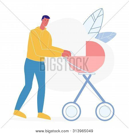 Father With Baby Carriage Flat Vector Illustration. Smiling Man, Male Babysitter Cartoon Character.