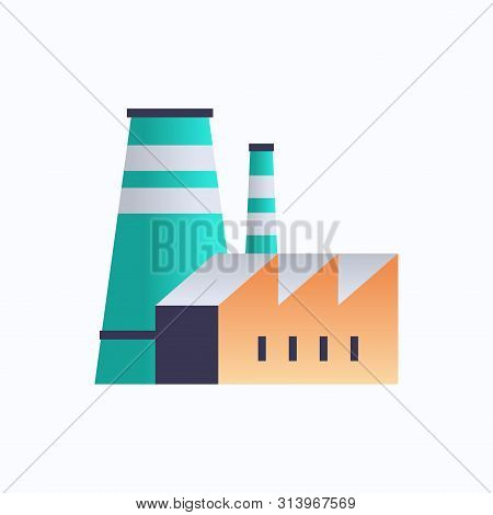 Factory Building Icon Industrial Plant With Pipes And Chimney Power Station Environment And Energy E