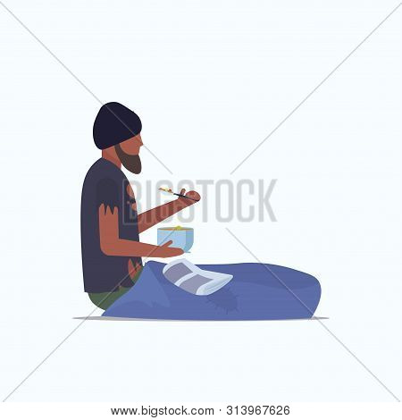 Man Beggar African American Tramp Sitting On Floor And Eating Begging For Help Homeless Jobless Conc