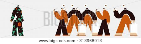 Conceptual Illustration. Running Crowd And Mysterious Figure. Flat Design Style Minimal Vector Illus