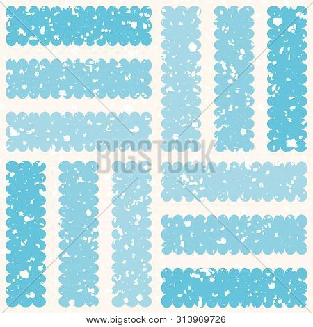 Frosted Geometric Design With White Ice Particles And Striped Squares. Seamless Winter Vector Patter
