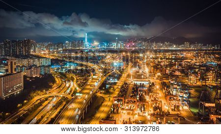 Hong Kong, Hong Kong - Jul 6, 2019: Hong Kong Port, Highway Traffic, And The Symphony Of Lights Show