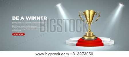 Business Or Sport Award On Illuminated Podium. Cup Prize Trophy On Round Stages With Red Carpet Winn
