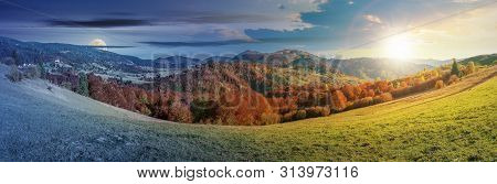 Day And Night Time Change Concept Above Panoramic Landscape In October. Grassy Meadow And Trees In F