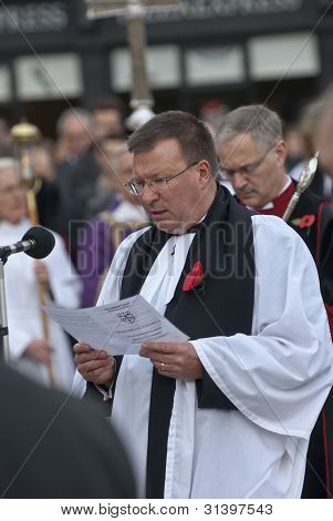 Acting Dean Of Exeter Cathedral, Carl Turner, Delivers Prayers During The Rememberance Day