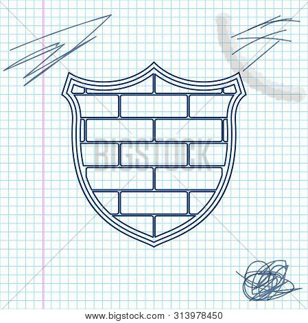 Shield With Cyber Security Brick Wall Line Sketch Icon Isolated On White Background. Data Protection