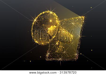 Gold Digital Marketing Low Poly Wireframe Illustration. Polygonal Online Notification, Internet Targ