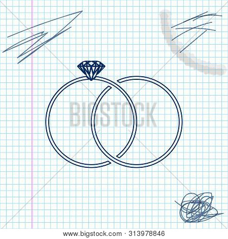 Wedding Rings Line Sketch Icon Isolated On White Background. Bride And Groom Jewelery Sign. Marriage