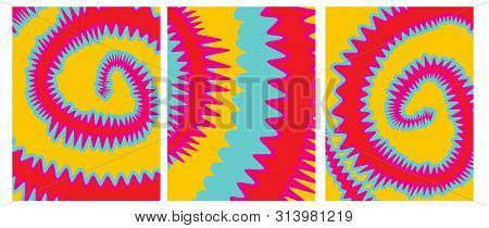 poster of Set o 3 Tie Dye Vector Layouts. Yellow, Pink, Red and Blue Tie Dye Decorative Geometric Backgrounds for Cover, Printing. Vibrant Colors Abstract Hippie Style Design.