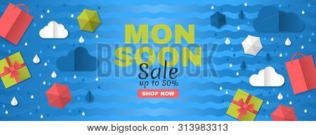 Sale Banner Of Special Monsoon Season. Creative Sale Banner With Colorful Cloud, Umbrella, Waves, Gi