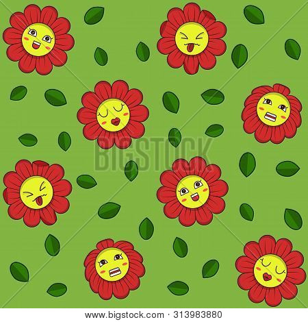 Vector Illustration Of A Pattern With Bright Colors With Emotions And Leaves