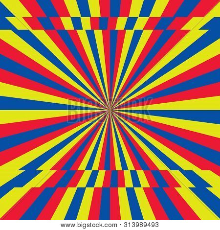 Yellow, Red, Blue Stripes Sunrays Background. Sunrays Yellow Color Vector Eps10 Background. Sunrays