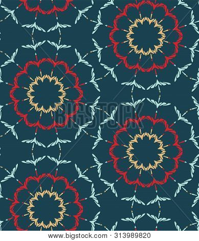 Hand Drawn Abstract Winter Snowflakes Pattern. Stylish Crystal Stars On Green Background. Elegant Si