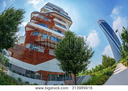 Milan,italy-june 28,2019: Citylife District Complex,an Architectonic Ensemble Designed By Architects