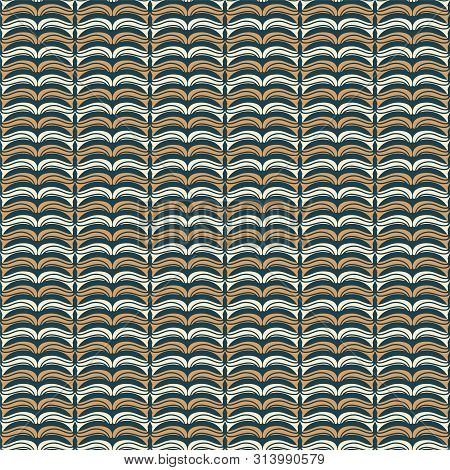 Hand Drawn Folk Art Christmas Stripes Pattern. Small Curved Gold Waves On Green Background. Cute Win
