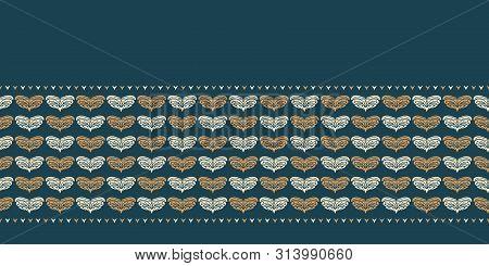 Hand Drawn Christmas Foliage Heart Border Pattern. Stylized Love Motif Gold On Green Background. Win
