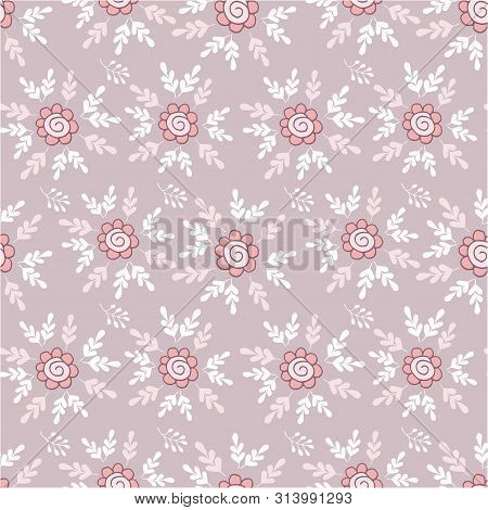 Elegant Seamless Pattern With Flowers In Pink And White.