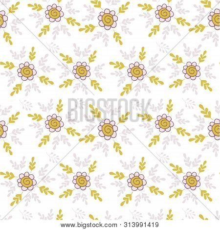 Elegant Seamless Pattern With Flowers In Pink And Mustard.