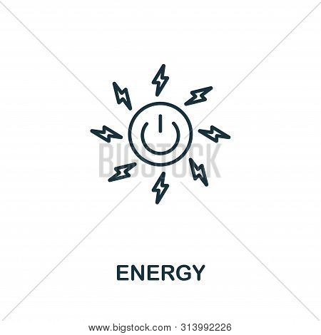 Energy Outline Icon. Thin Line Style From Community Icons Collection. Pixel Perfect Simple Element E