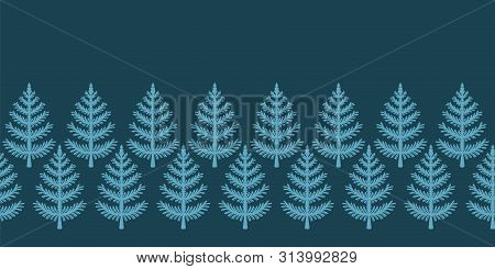 Hand Drawn Stylized Christmas Tree Border Pattern. Geometric Abstract Fir Forest. Green Background.