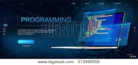 Programming Or Software Development Web Page Template. Vector Illustration With Laptop Isometric Vie